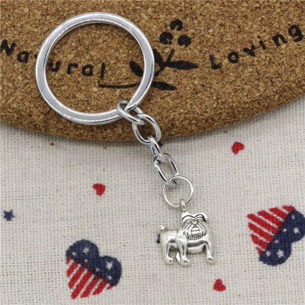 Wholesale Fashion Keychain dog pug bulldog 17*13mm Pendants DIY Men Jewelry Car KeyChains Holder Souvenir For Gift