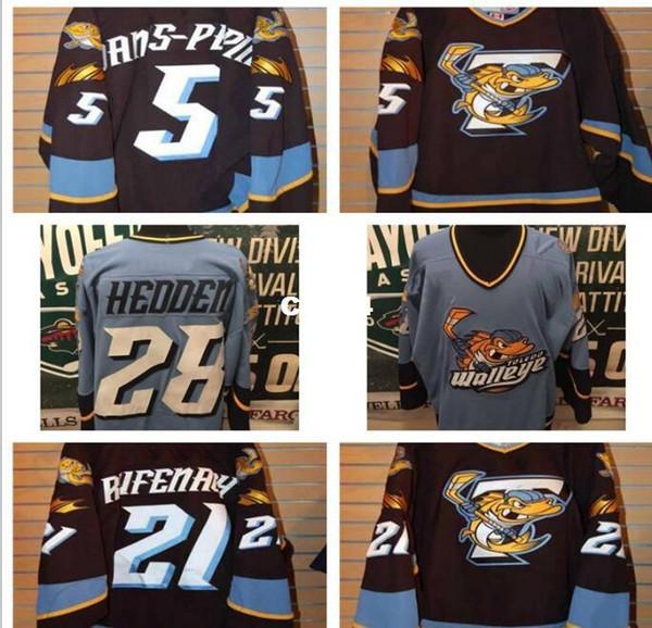 Gerçek Erkekler gerçek Tam nakış ECHL 2010-11 Toledo Walleye 28 Mike Hedden 5 Simon Danis Pepin Forması veya özel herhangi bir isim veya numara Jersey