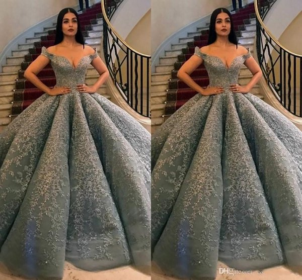 2019 Fashion Corset Grey Prom Dresses Long Off Shoulder Lace Appliques  Beaded Formal Party Gowns Ball Gown Evening Dresses Plus Size Prom Dresses  For ...