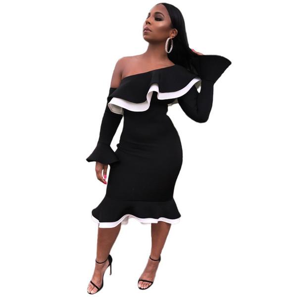 2019 designer women bodycon party dress clothes Ruffled Collar One Shoulder Long Sleeve Dress Autumn Patchwork Sexy Midi Dress Robe Femme