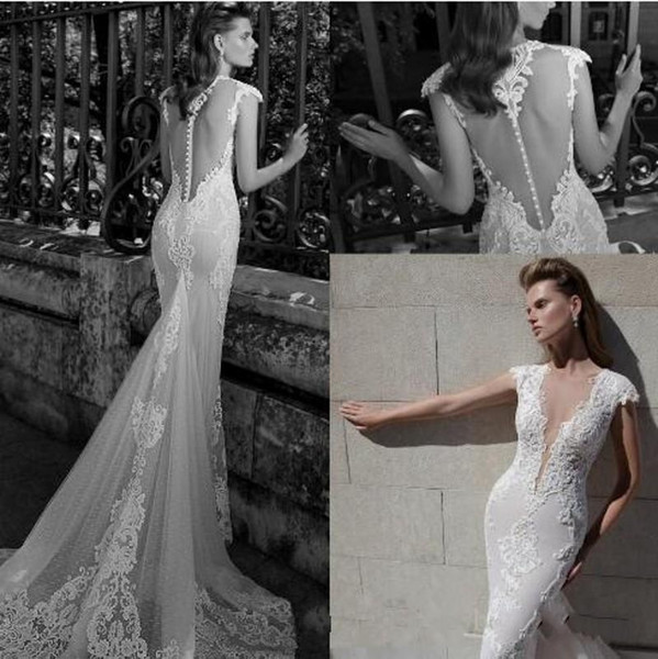 2019 New Illusion Back Berta Wedding Dresses Lace Appliques Beaded Cap Sleeves Pearls Sweep Train Elegant Button Back Mermaid Bridal Gowns