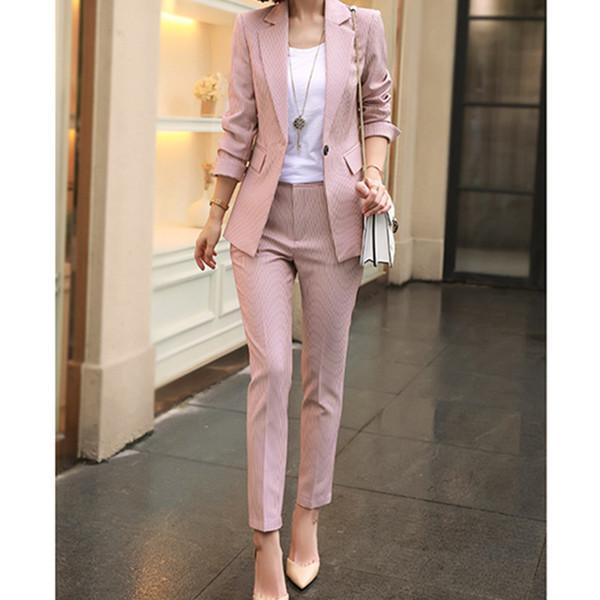 Hohe qualität Frauen Arbeiten Rosa Hose Anzüge 2 Stück Set Frauen Single schnalle Gestreiften Blazer Jacke + Hosen Büro Dame Anzug