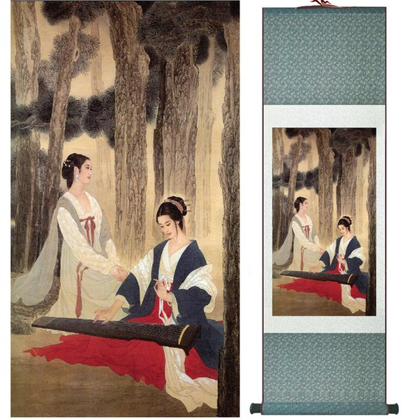 Traditional Chinese Pretty Girls Painting Home Office Decoration Beautifull Women Painting041003