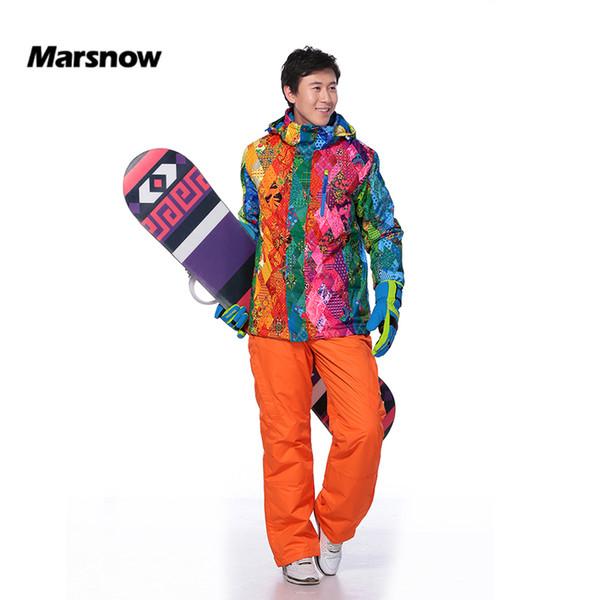 Marsnow Men's Ski Suits Set Warm Snowboard Hooded Jacket+Pant Skiing Suit for Men Windproof Waterproof Winter Outdoor Sport Wear