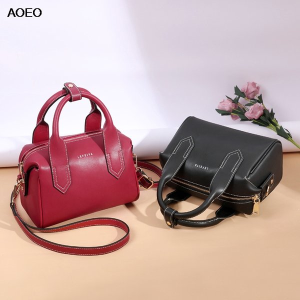 AOEO Luxury Handbags Women Split Leather Big Capacity New Fashion Girls Crossbody Bag Red Black Casual Lady Shoulder Bags