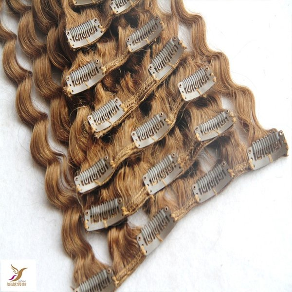 Light Blonde Color Deep Wave Clip In Human Hair Extension 100g /7pcs Brazilian Remy Hair in Clips 10-30 Inchs Cluo In Hair Extensions