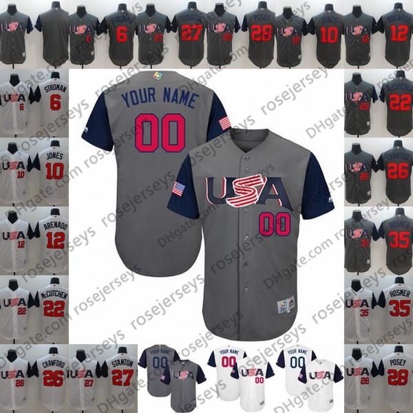 Custom USA WBC Grigio Bianco Jersey 2017 World Baseball Classic # 7 Christian Yelich 10 Adam Jones Qualsiasi nome Numero uomini donne giovani bambini