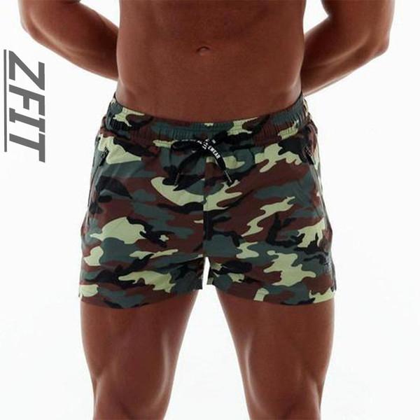 Nouveau short de course pour hommes d'été, camouflage et fermeture à glissière à séchage rapide