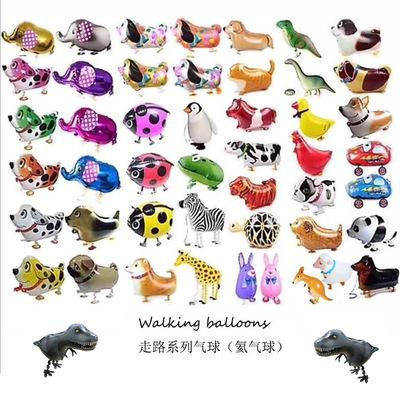 Mixes Walking Animal HELIUM Balloons Cute Cat Dog Panda Dinosaur Tiger pet air Ballons birthday party decorations kids and adult