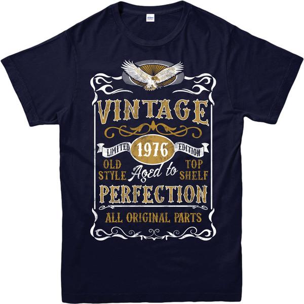 Feita em 1976 Vintage T-Shirt, Nascido em 1976 Aniversário Idade Presente Do Ano Top Roupas Masculinas T Dos Homens Quente Barato Lazer de Manga Curta