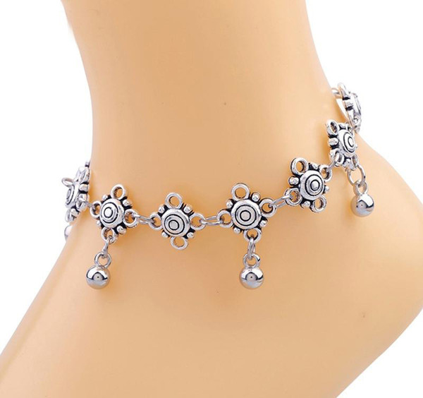 Cavigliere tono argento Indiano Tranditional Bell Pendants Bracciale cavigliera per donne Lovely Sandanls scalzi Gioielli piede regolabili