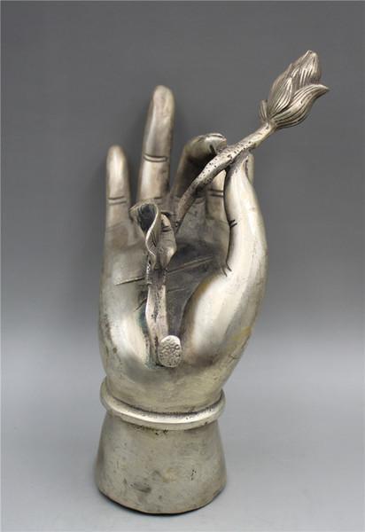 Collezione Buddismo Statua di loto di bergamotto in argento tibetano intagliato a mano