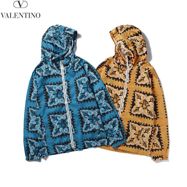 Chaquetas de diseñador para hombre Moda Patrón geométrico Sudaderas con capucha Impresión de lujo Azul Amarillo rompevientos para Street Hip Hop 2019 Calidad superior caliente
