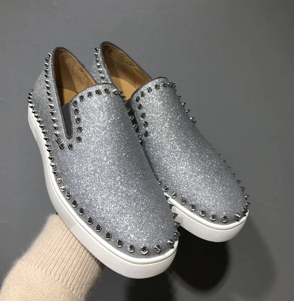 Silver Glitter Men Shoes Ring Nails Feet Low Top Shoes Luxury Designers Red Bottom Tide Women Designer Fashion