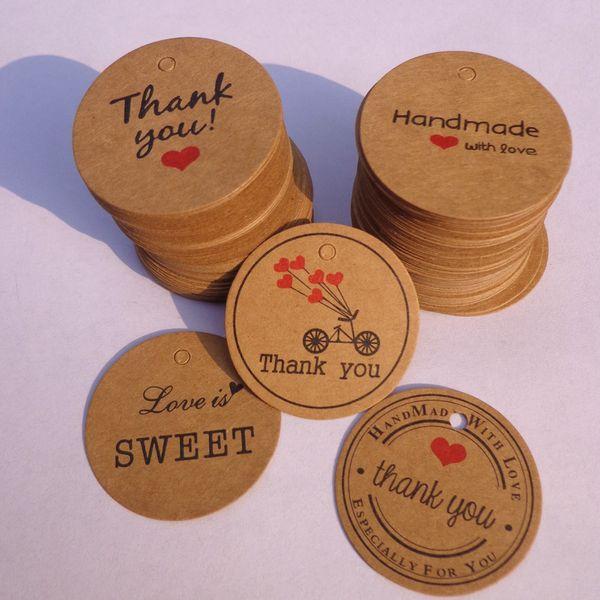 1000pcs Merci avec le coeur rouge Kraft Gift Tags