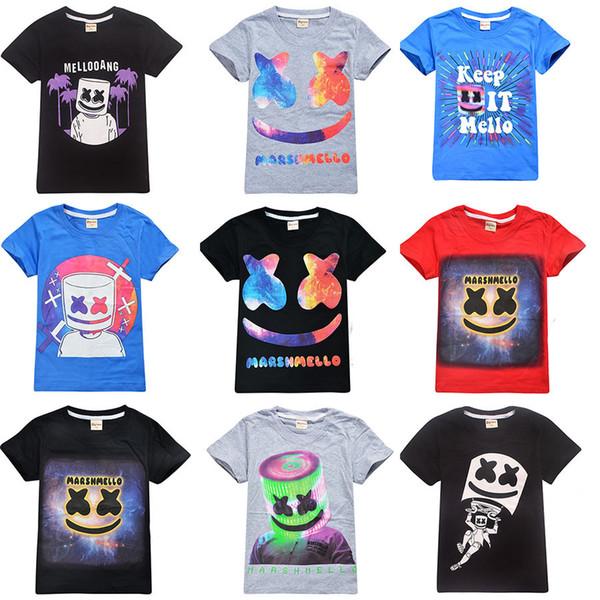 38 styles boys girls Marshmallows T Shirt DJ Music 100% Cotton T-shirt 2019 summer children wear kids casual clothes for 6-14 years C6713