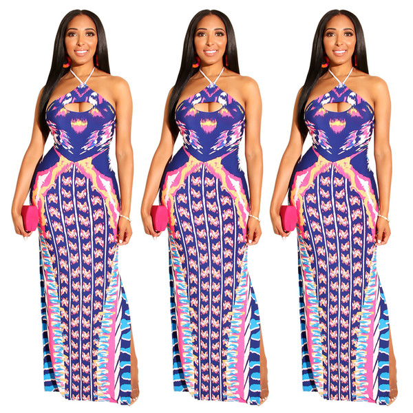 Women Print Maxi Prom Dresses Sexy Tie Dye Halter Hollow Backless High Side Split Long Dress Purple for Cocktail Party Nightclub