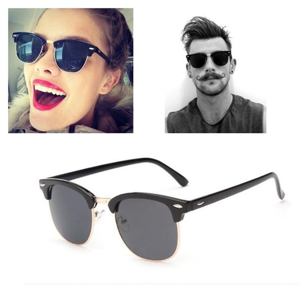 Brand Designer Sunglasses Metal Hinge Vintage Rice Nail Metal Half Frame Sunglasses Men Women Glasses UV400 With Original Cases And Box