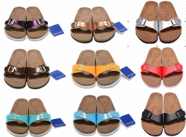 79d6215202 novo Madrid Black Flor rua verão Mulheres de couro sandálias de  apartamentos chinelos de cortiça unisex
