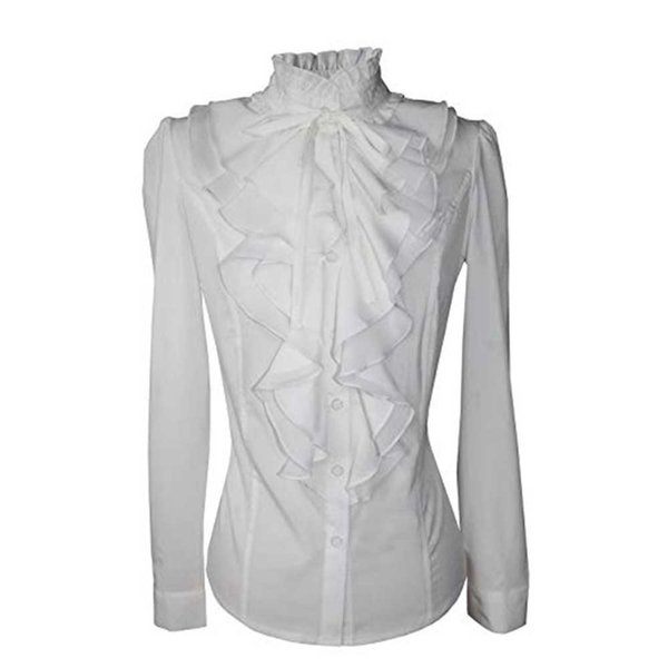 ISHOWTIENDA Women Tops and Blouses Lace-up Solid Blouse Long Sleeve Chiffon Ruffled Collar Tie Shirt Top vetement femme 2019