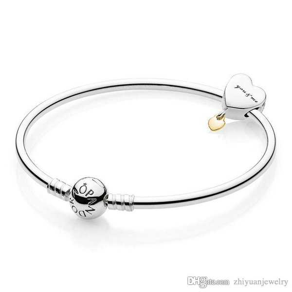wholesale you and me charms bangle bracelets high quality 925 sterling silver jewelry original full package gifts