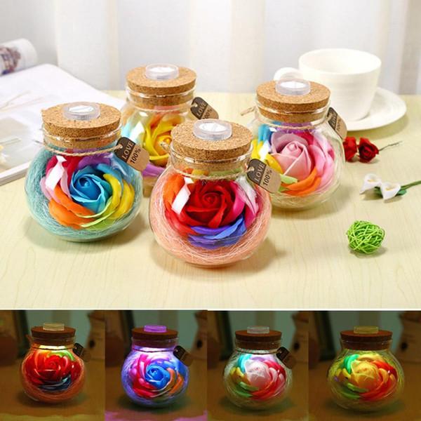 Handgemachte Valentinstag Geschenke Konservierte Rose Blume in Glas LED Lichter Rose Nachtlampe in einer Glaskuppel Holzsockel MMA1267 200pcs
