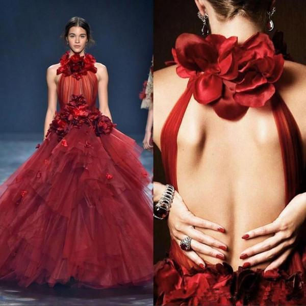 2020 Red Ball noir sexy robe de bal Robes Jewel cou étage longueur robe Appliques soirée Party Robes formelles Tiers Robes de Noche