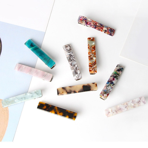 New arrvial Acrylic Barrettes Colorful Hair Pin Aestheticism Valentines Gift Duck Clip Starry Sky Long Acetate Hair Accessories 30pcs