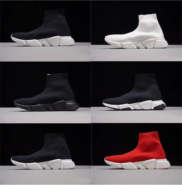 2019 New Mens Casual Schuhe Paris Berühmte Luxusmarke Schuh mit schwarz weißer Textur Sohle Hochwertige Designer Sockenschuhe für Frauen Größe 36-47