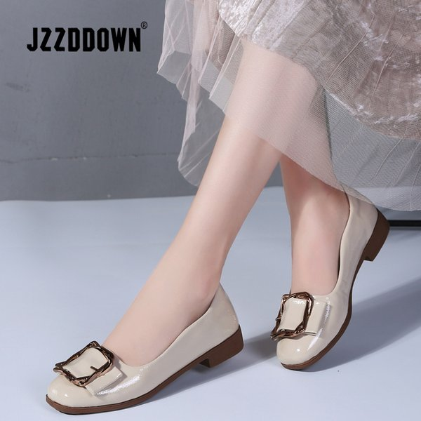 JZZDDOWN Women Ballerina Flat Shoes PU Slip on Loafers Round toe Ruffles Party ladies ballet flat Shoes Black Patent Flats Women