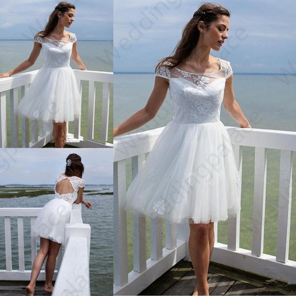 Short BeachLace Wedding Dresses 2019 Newest Summer Scoop Neck A-Line Knee Length Tulle Bridal Gowns Vestido De Noiva