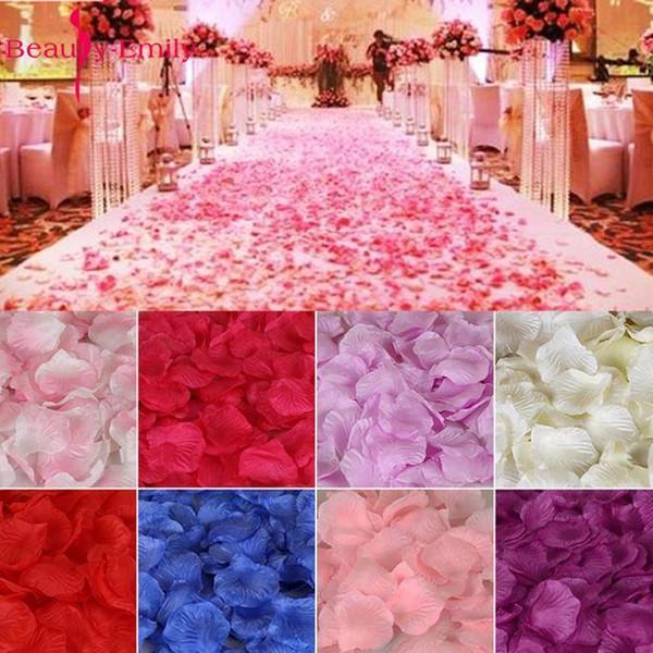 2000 adet / grup Dekorasyon Için 5 * 5 cm Ipek, romantik Yapay Yaprakları Düğün Gül Çiçek C19041701