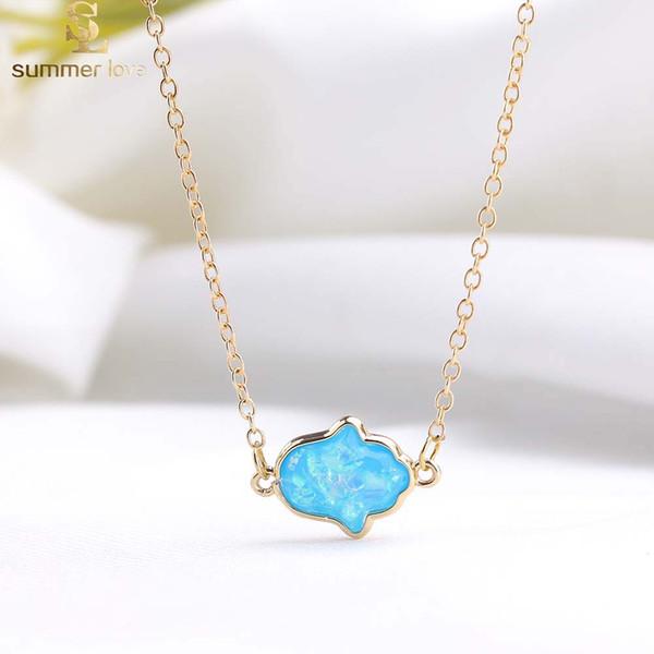New Fashion Opal Hamsa Hand Pendant Necklace for Women Nature Resin Pendant Necklace Fashion Jewelry Gift 2019