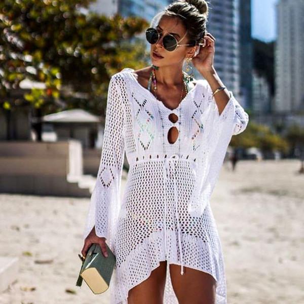 2019 New Beach Cover Up Bikini Crochet Knitted Beachwear Summer Swimsuit Cover Up Sexy See-through Beach Dress J190618