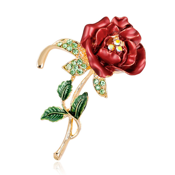 2019 European and American fashion new drop oil rose brooch delicate flower brooch clothing shoes bag hand bouquet accessories free shipping