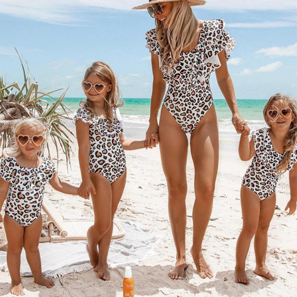 top popular Kids Swimwear 2019 New Leopard Print Girls Swimsuit Mommy and Daughter Matching Swim Suits Girls Bikini One-piece Kids Bathing Suits Z11 2021