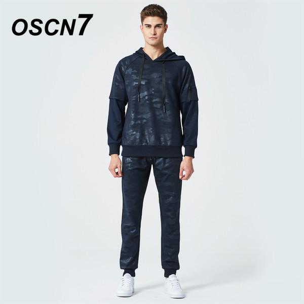 OSCN7 Kamuflaj 2 ADET Eşofman Artı Boyutu Rahat Moda Eşofman Erkekler Patchwork Streetwear Erkek Eşofman TZ24