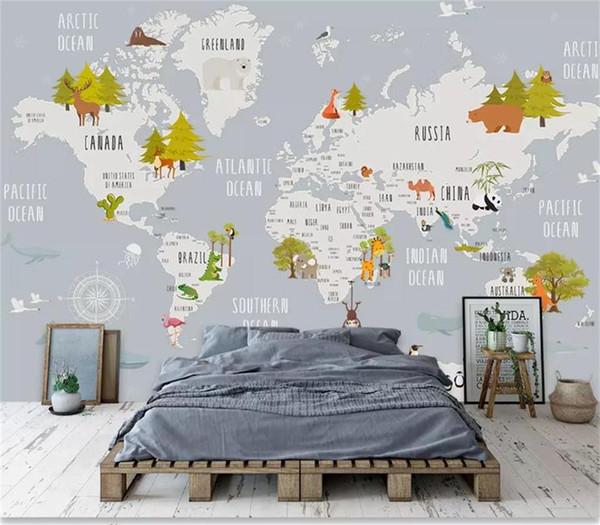 Großhandel Benutzerdefinierte Größe 3d Fototapete Kinderzimmer Wandbild  Cartoon Tier Weltkarte 3d Foto Bild Sofa Tv Hintergrund Wand Tapete Vlies  ...