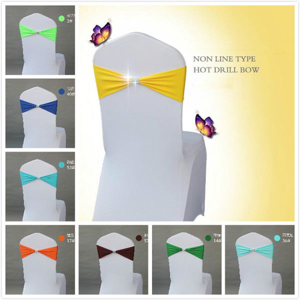 best selling 31 Colors Spandex Lycra Wedding Chair Cover Sash Bands Wedding Party Birthday Chair buckle Sash Decoration