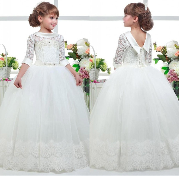 2019 Lace Flower Girls Dresses for Wedding Lace Hem Appliques Half Sleeve Girls Pageant Dress First Communion Dress Ball Gown BC1012