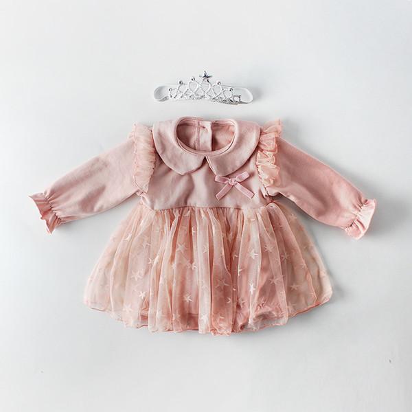 Ins Bebê crianças roupas romper primavera romper menina pet pan cor manga comprida de malha patchwork romper crianças cuasual roupas de alta qualidade