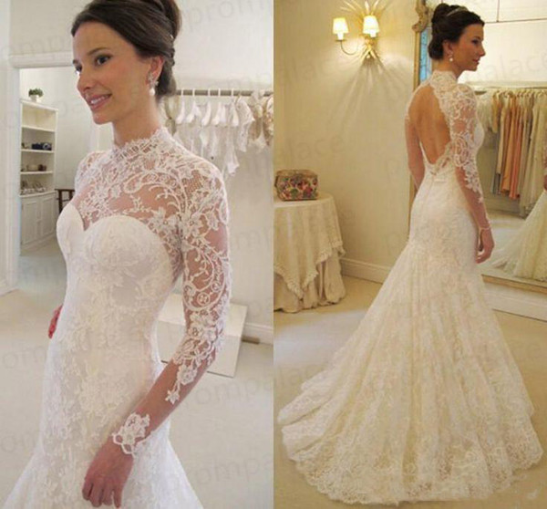 2019 Gorgeous Lace High Collar Mermaid Wedding Dresses With Long-Sleeves Sexy Backless Wedding Bridal Wedding Gowns custom Made Cheap