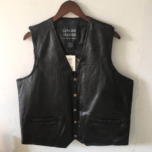 MIYU Mens Waistcoat Black Biker Vest Leather Motorcycle Rock Sleeveless Jacket Male Autumn Plus Size Clothing 4XL High Quality