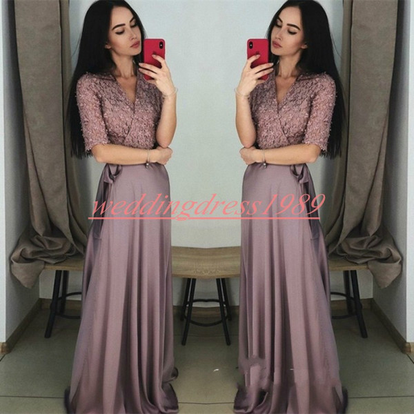 Elegant V-Neck Half Sleeve Evening Dresses African Chiffon Floral A-Line Lace Formal Guest Dress Pageant Plus Size Long Prom Party Gowns