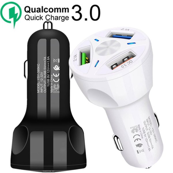 QC 3.0 3.1A Qualcomm Quick Charge 3 Usb Ports Auto Power Adapter Car Charger For iphone Ipad Samsung htc android phone pc gps