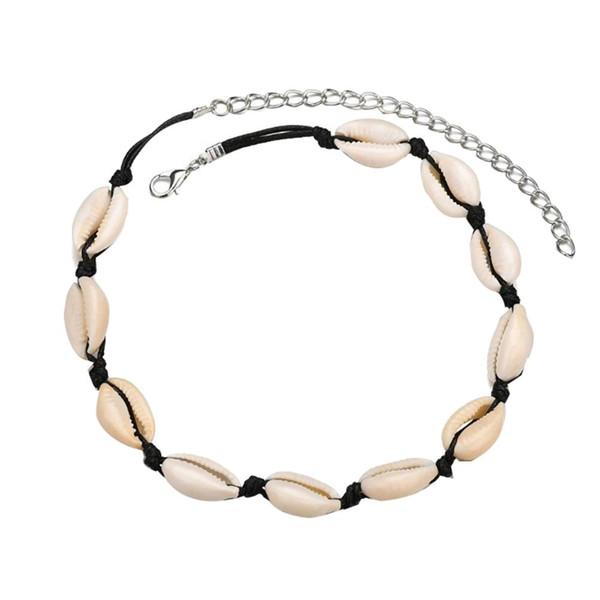 Böhmische Frauen Natürliche Kaurischnecke handgemachte gesponnene Halskette Sommer-Strand-Schmuck Schwarz-Seil-Ketten K5623