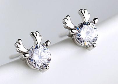 Versione coreana dei semplici orecchini a forma di cervo con zircone singolo in argento sterling s925