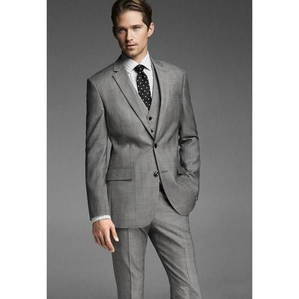Classic Designe Grey Groom Tuxedos Notch Lapel Two Button Groomsmen Mens Wedding Tuxedos Excellent Man Blazer Suit(Jacket+Pants+Vest+Tie)753