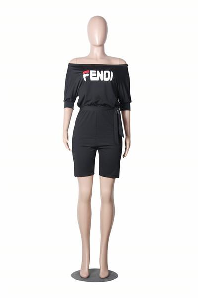 Pantaloncini tuta donna T-shirt bicchierini 2019 moda mezza manica piatta Shouders tuta pagliaccetto estate off spalla pantaloncini Street Outfit C5604