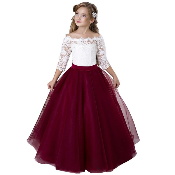 White and red Puffy Flower Girl Dresses First Communion Dresses for Girls Beaded Applique Kids Evening Gowns Hot Sale vestido longo 2019